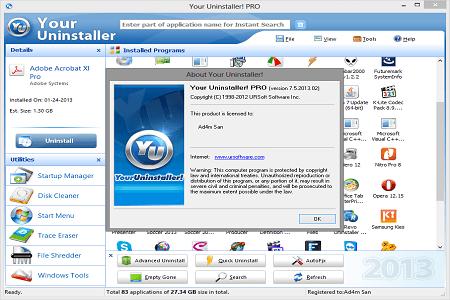 Your Uninstaller Pro 7.5.2013 Menu